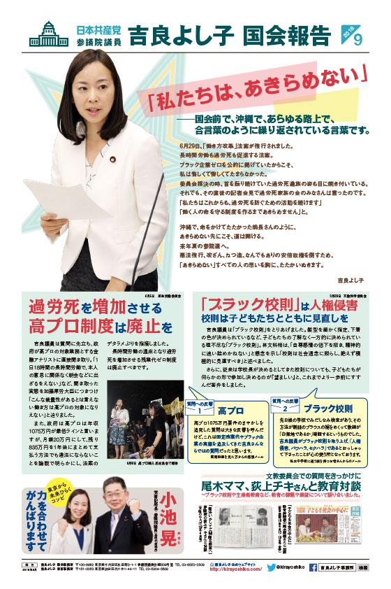 吉良よし子国会報告 2018年秋号